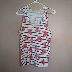 J. Crew S Striped Floral Racer Back Tank Top
